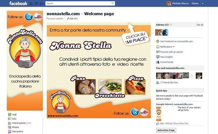 Tab welcome nonna stella su facebook